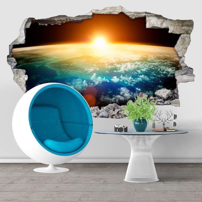 Decorative vinyl planet earth and sun 3D