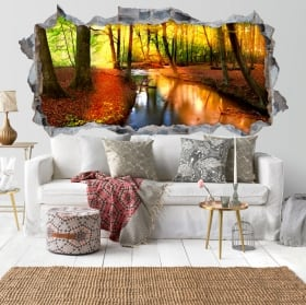 Stickers for walls autumn forest sunset 3D