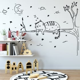 Wall decal sleeping cat