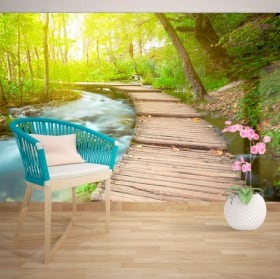 Wall murals of vinyl walkway in the creek
