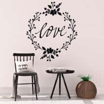 Decorative vinyl love with flowers