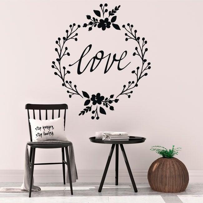 Decorative vinyl love with flowers
