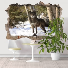 Wall decal wolf in the forest 3D