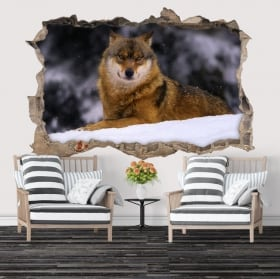 Wall decal wolf in winter 3D