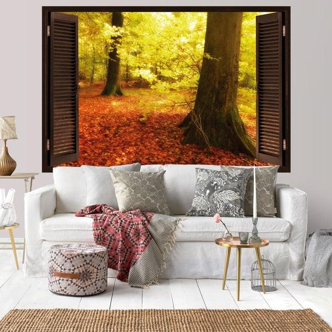 Vinyl window autumn trees 3D