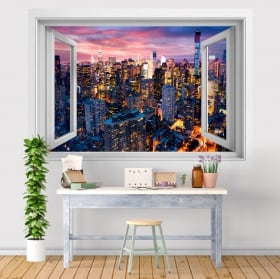 Vinyl window New York Manhattan 3D sunset