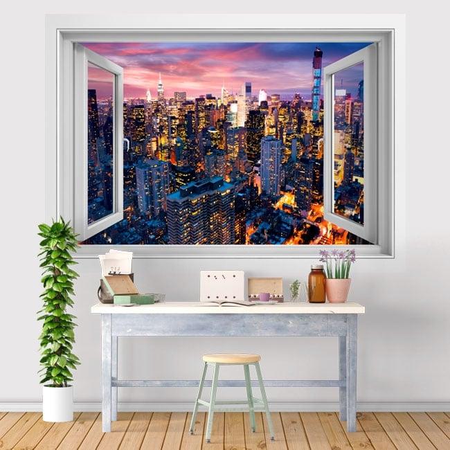 Vinyl window New York Manhattan 3D sunset
