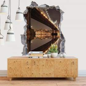 Vinyl walls New York Manhattan bridge 3D
