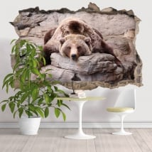 Decorative vinyl walls grizzly bear 3D
