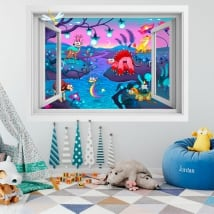 Children's vinyl animal fantasy 3D