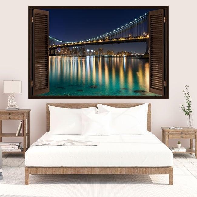 Vinyl window Brooklyn bridge 3D