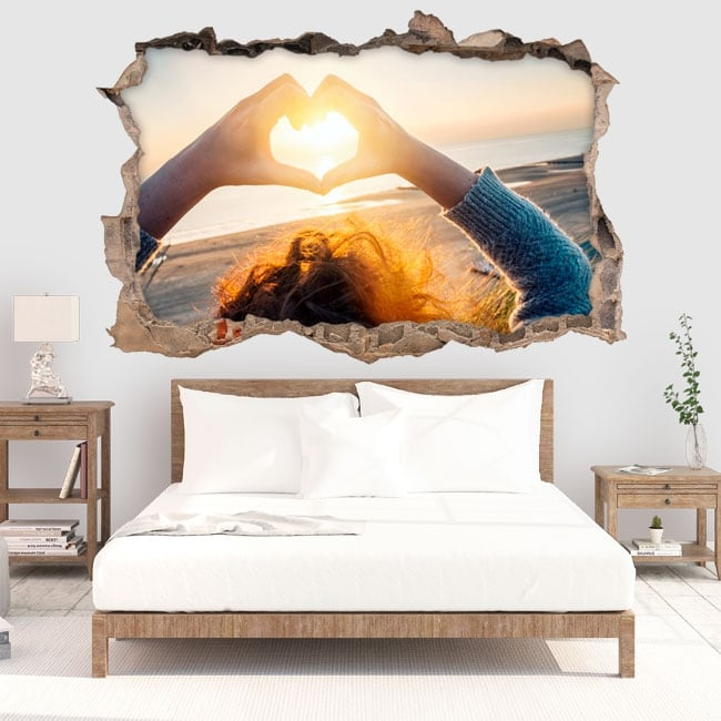 Wall decal heart at sunset 3D