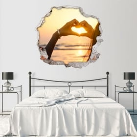 Stickers for walls heart sunset hands 3D