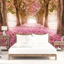 Wall murals pink flowers trees
