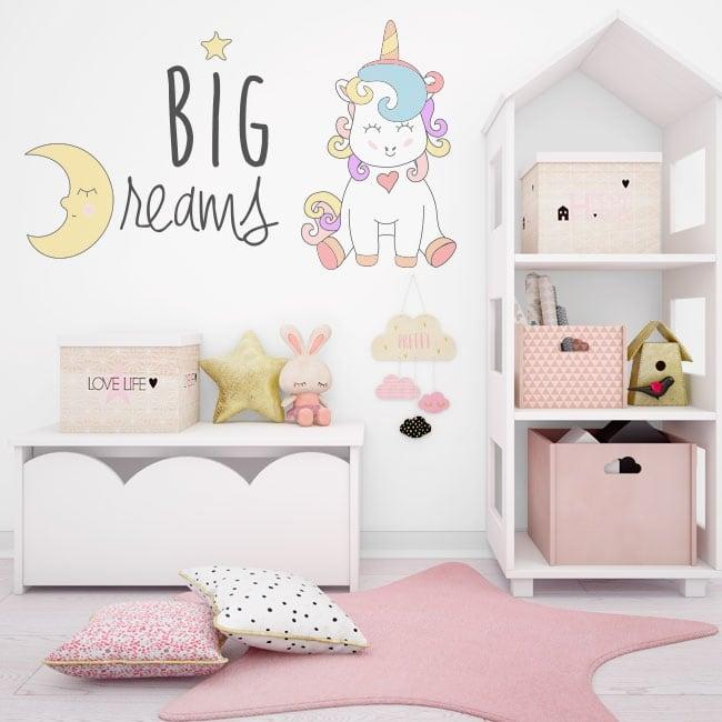 Wall decal unicorn big dreams