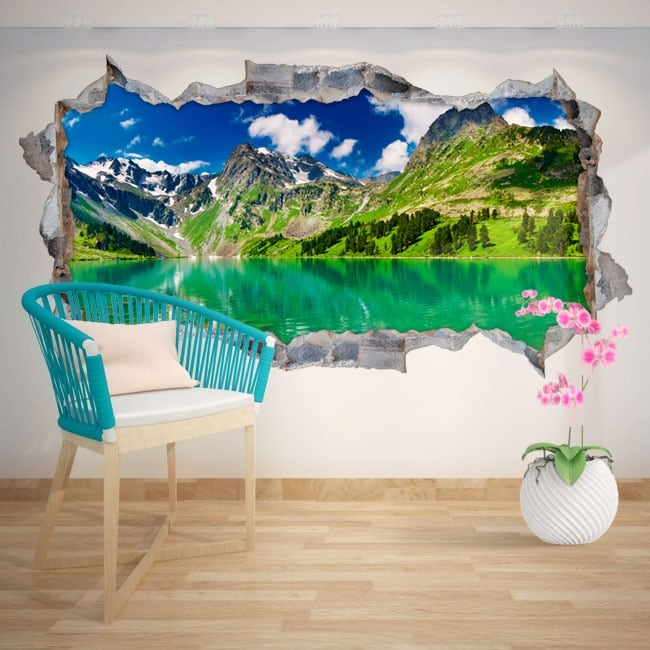 Decorative vinyl snowy lake and mountains 3D