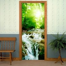 Vinyl for doors waterfall in the forest