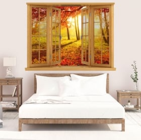 Vinyl sunset autumn trees window 3D