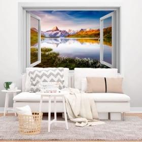 Decorative vinyl lake Bachalpsee Swiss Alps 3D