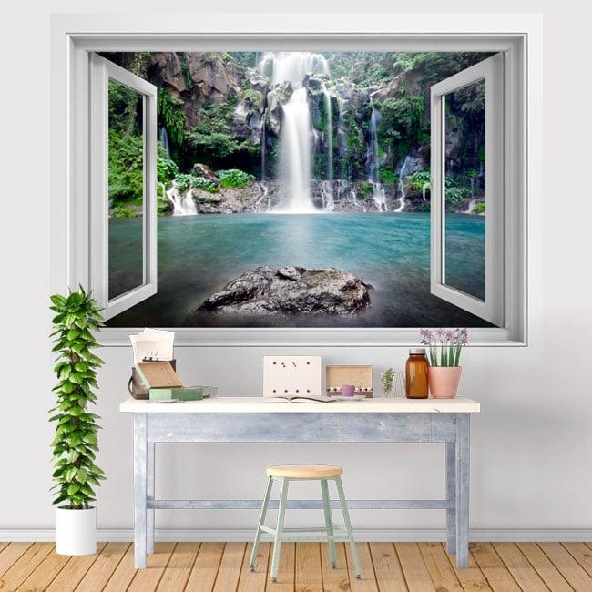 Vinyl waterfalls Reunion Island 3D