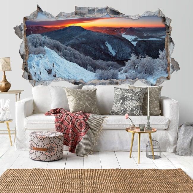 Decorative vinyl sunrise in the mountains 3D
