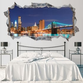 Vinyl skyline New York Brooklyn bridge 3D