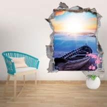 Wall stickers beach at sunset 3D