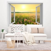 Vinyl window sunset flowers field 3D