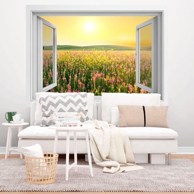 Vinyl window sunset flowers field 3D