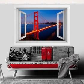 Vinyl Golden Gate bridge window 3D