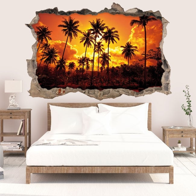 Decorative vinyl sun and palm trees on the beach 3D