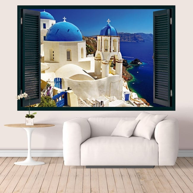 Vinyl Greece Santorini window 3D