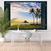 Decorative vinyl sunset in Hawaii window 3D