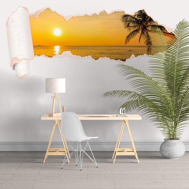 Vinyl beach sunset torn paper 3D