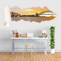 Vinyl sunset bay of Sydney torn paper 3D