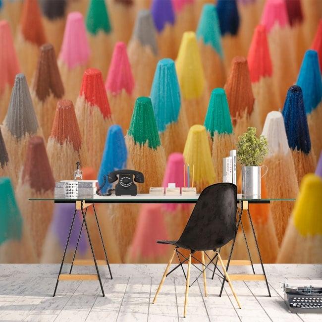 Wall murals colored pencils