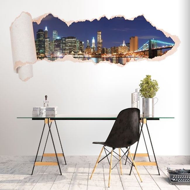 Vinyl New York skyline torn paper 3D