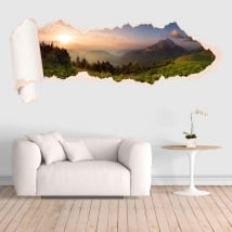 Vinyl sunset mountains torn paper 3D
