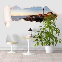 Vinyl lighthouse coast Portland Maine torn paper 3D
