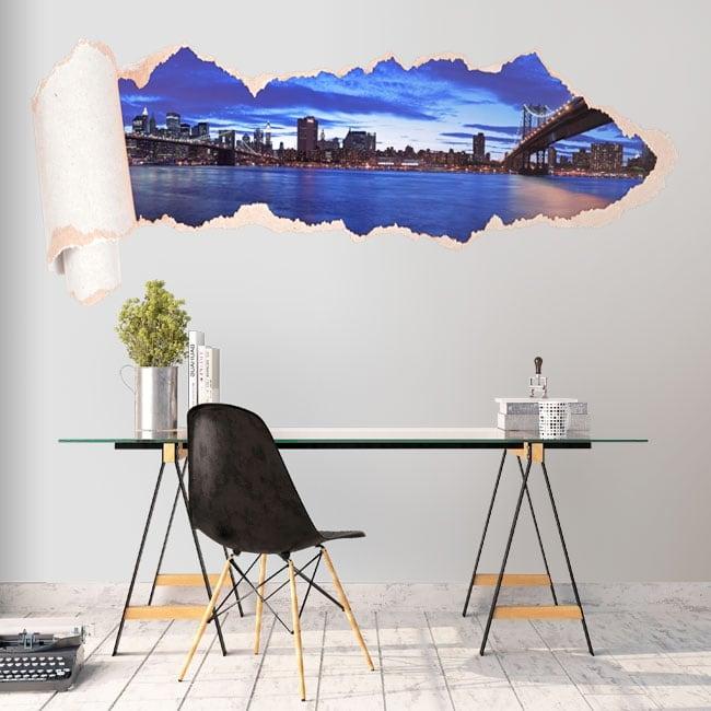 Vinyl panoramic Manhattan torn paper 3D