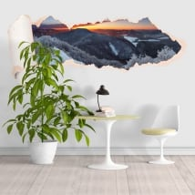 Vinyl sunset snowy mountains torn paper 3D