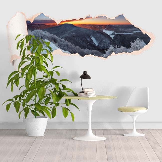 Vinyl sunset snowy mountains torn paper 3D