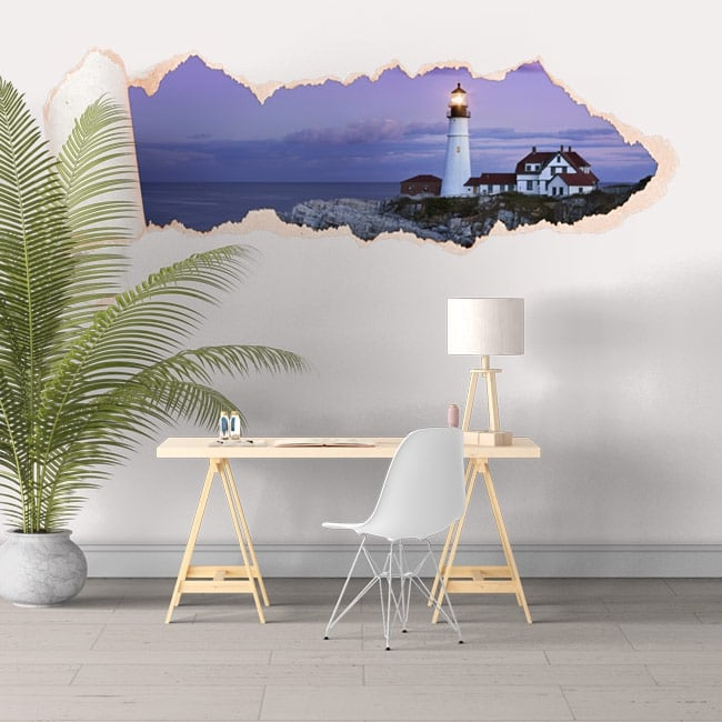 Vinyl torn paper 3D Portland lighthouse