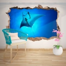 Decorative vinyl Manta Ray 3D