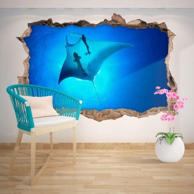 Decorative vinyl Manta Ray 3D