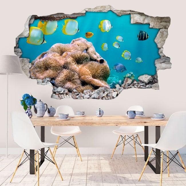 Vinyl walls fish in the sea 3D