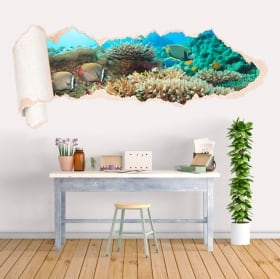 Vinyl coral reef fish torn paper 3D