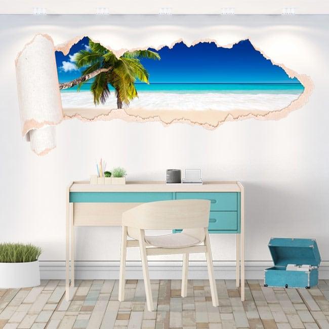 Vinyl palm tree on the beach torn paper 3D