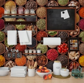 Wall murals condiments kitchens
