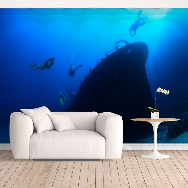 Vinyl wall murals submariners in the sea